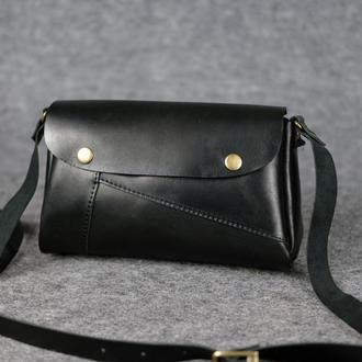 """Женская сумка """"Модель №22"""" Кожа Итальянский краст цвет Черный"""