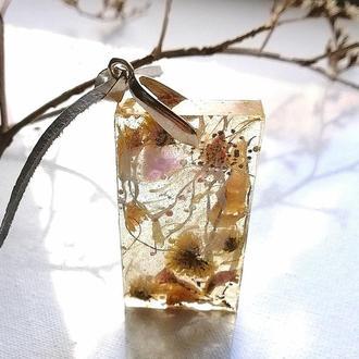 Кулон с сушеными цветами и натуральными камнями Талисман Благости и Достатка