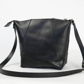 """Женская сумка шоппер """"Модель №32"""" Кожа Итальянский краст цвет Черный"""