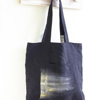Черная сумка Лен 100% на подкладе