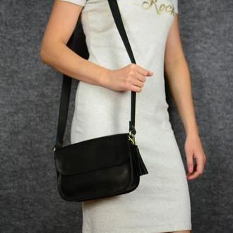 """Женская сумка """"Модель №25"""" Кожа Итальянский краст цвет Черный"""