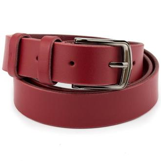 Женский кожаный ремень KB-30 red (3 см)