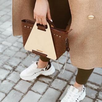 Маленькая стильная сумочка FIGLIMON S| коричневая