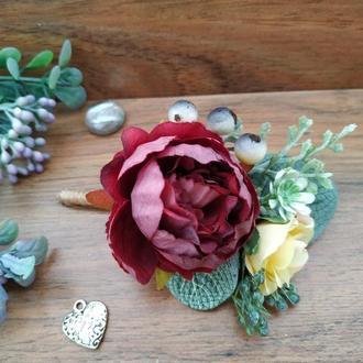 Бутоньерка для жениха в цвете Марсала Бутоньерка для свидетеля Свадебные бутоньерки