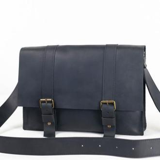 """Мужская сумка """"Модель №47"""" Винтажная кожа цвет Черный"""