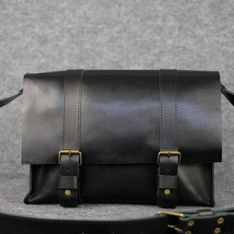 """Мужская сумка """"Модель №47"""" Кожа Итальянский краст цвет Черный"""