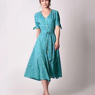 Мятно-бирюзовое платье миди.