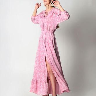 Пастельно розовое платье в стиле прованс