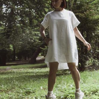 Платье  А-силуэта из льна