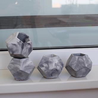 """Бетонный горшок """"мраморный Пентагон"""" в мраморной технике. Вазон для растений. Кашпо из бетона."""