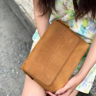 """Кожаная женская сумка кросс-боди с косметичкой рыжая """"CrossBody"""" от «pan Krepko»"""