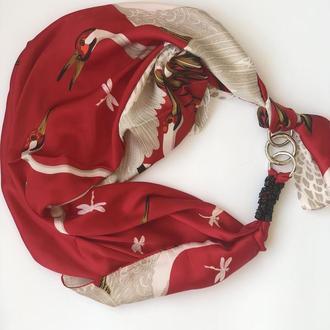 """Шелковый шарф """"Японские журавли"""", платок, шарф-колье, шарф-чокер, шейный платок"""