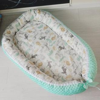 Кокон для ребенка (гнездышко, бебинест) Funny Zoo Mint Minky
