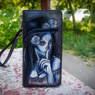 Женский кошелек, кожаный кошелек с рисунком, кошелек на молнии Santa  Muerte, черный кошелек