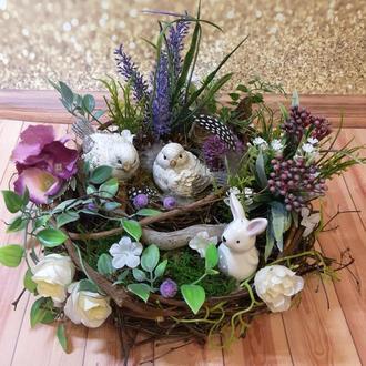 Декоративная пасхальная весенняя композиция на стол венок гнездо подарок мини сад топиарий