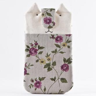 Чехол для iPhone X кот, Подарок девушке, Чехол для Samsung Galaxy Note 9 Тканевый чехол для телефона