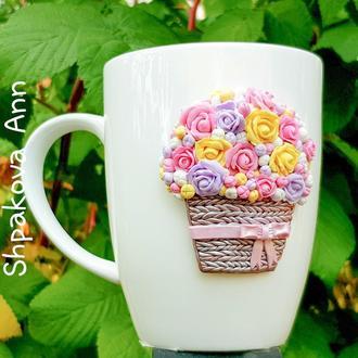 Кружка с декором  Цветы на фарфоре