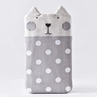 Серый Чехол кот для iPhone XS Max, Серый чехол для iPhone 8 Plus, тканевый чехол для iPhone XS