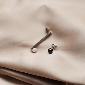 Серьги серебряные с жемчугом разного цвета
