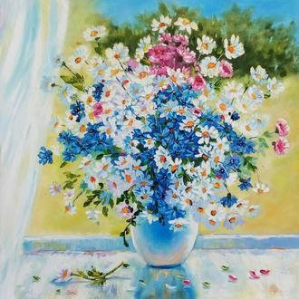 """Картина маслом цветы """"Ромашки на солнечном окне"""" синий, белый"""