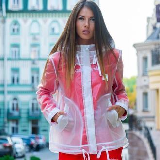 Стильная прозрачная куртка, дождевик, ветровка, плащ с капюшоном