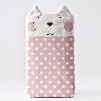 Чехол для Samsung Galaxy Note 9 кот, розовый тканевый чехол для Huawei