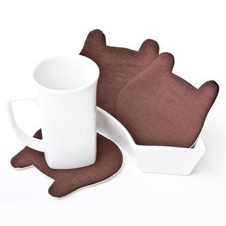 Коричневые подставки под чашки мишки, подарок на новоселье, 4 шт. в наборе