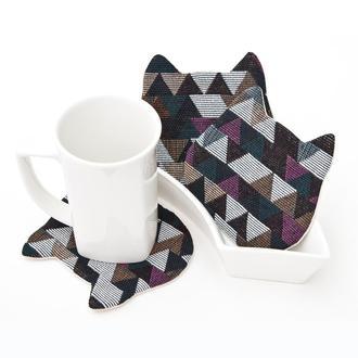 Гобеленовые подставки котики под чашки, подарок на новоселье, 4 шт. в наборе
