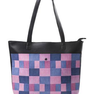 """Кожаная женская сумка-шоппер """"Розовая клетка"""""""
