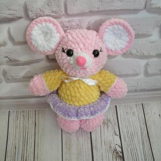 🍓 Мышка вязаная. Детская игрушка мышь. Плюшевый мышонок, вязаный крючком.