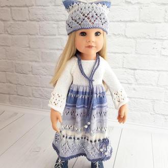 Одежда на куклу Готц, Бело голубое платье на куклу Готц, подарок девочке,