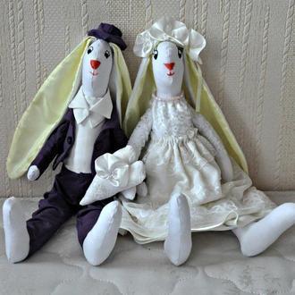 Свадебные зайцы, зайчики на свадьбу, подарок на свадьбу, пара свадьба
