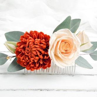 Гребень для волос с цветами, Гребешок с розами, эвкалиптом и хризантемой