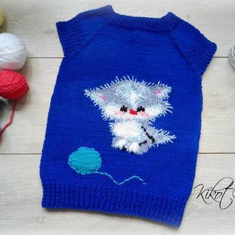 Детская жилетка Котёнок Вязанная жилетка на 3-4 года.