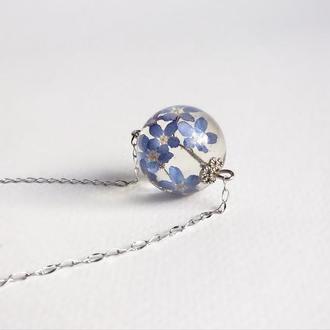 Кулон с синими незабудками (модель № 1272) Glassy Flowers