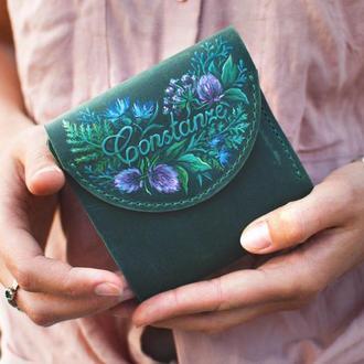 Именной кожаный кошелек маленький с цветочной росписью или тиснением женсикй
