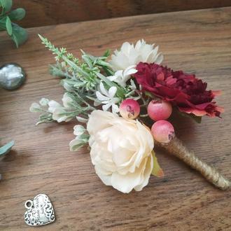 Бутоньерка для жениха Ваниль-Бургунди Бутоньерка для свидетеля Свадебные бутоньерки