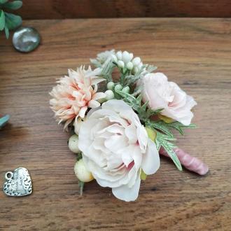 Бутоньерка для жениха Пыльная роза Бутоньерка для свидетеля Свадебные бутоньерки