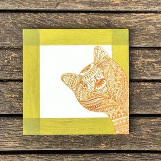 Панно настенное - кот в технике рисунка Зентангл Современная живопись
