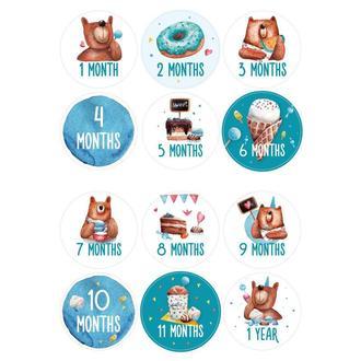 Sweet Bear Boy – ENG наклейки для фото по месяцам