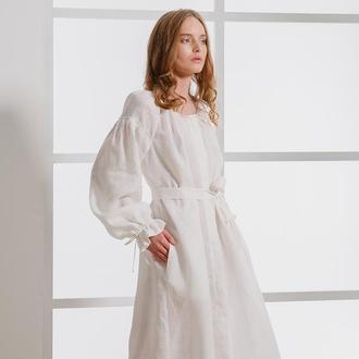 Белое платье фасона украинской вышиванки