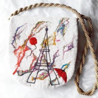 "Валяная сумка ""Праздник в Париже"""