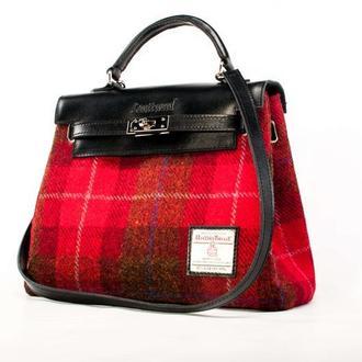 Harris Tweed сумка Leattweed Kenzi red tartan