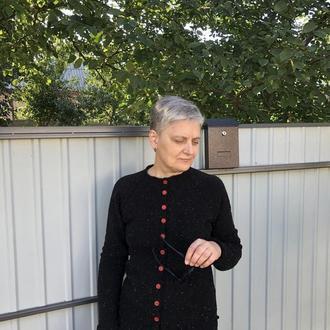 Черный женский кардиган из твида