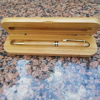 Набір №5 дерев'яний пенал з кульковою ручкою та лазерним гравіюванням
