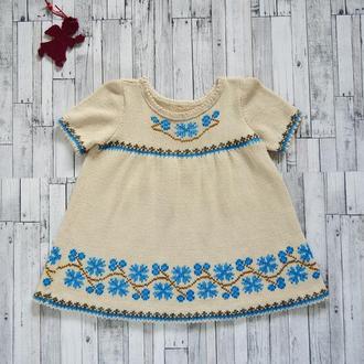 В'язане і вишите плаття для дівчаток (3-4 роки), ручна робота, єдиний примірник