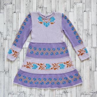 Лавандовое платье ручной работы для девочек (7-9 лет), единственный экземпляр