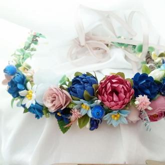 Синий веночек Свадебный веночек Венок полевой Бутоньерка