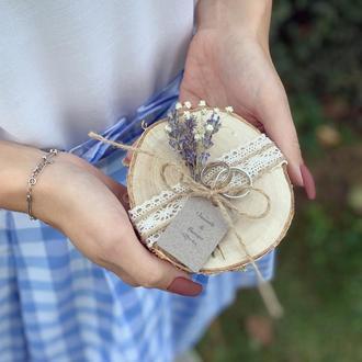 Шкатулка для обручальных колец. Подставка для колец в стиле Рустик