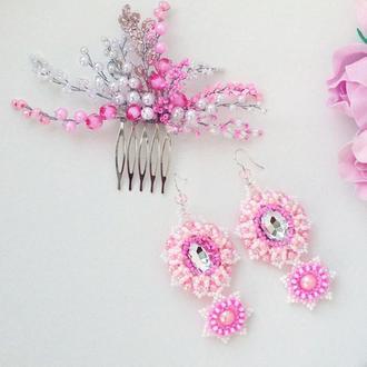 Нежный бело розовый комплект украшений «Афродита»